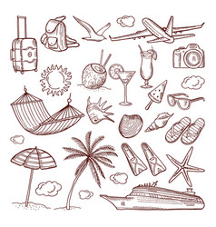 Summer time theme in hand drawn style vector