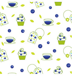 Tea bag blueberry seamless pattern vector