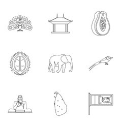 Tourism in Sri Lanka icons set outline style vector image vector image