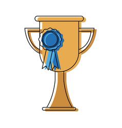 Trophy school ribbon medal award celebration vector