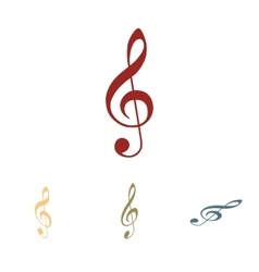 Violin clef icon set vector