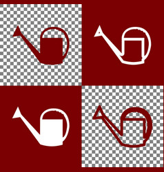 Watering sign bordo and white icons and vector