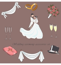Wedding ceremony accessories set vector