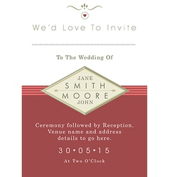 Wedding invitation red and gold ribbon theme vector image vector image