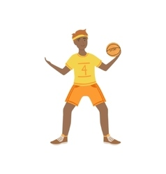 Man In Yellow Uniform Playing Basketball vector image