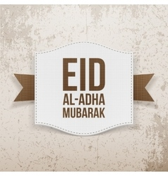 Islam paper card with eid al-adha text vector