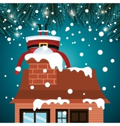 Santa claus stuck chimney house snwofall graphic vector
