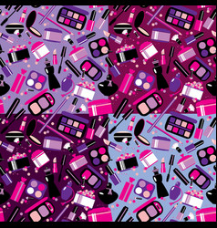 cosmetics and makeup seamless pattern elements vector image