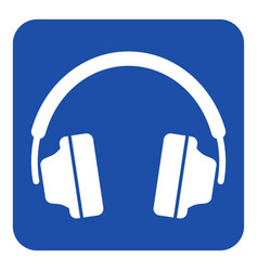Blue white information sign - headphones icon vector