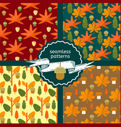 Set of autumn foliage seamless patterns vector