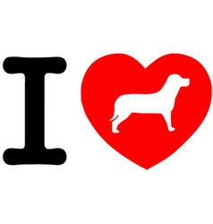 I Love My Dog Text With Red Heart vector image