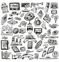 Technology devices doodles - icons vector