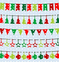 Christmas background with garlands and buntings vector