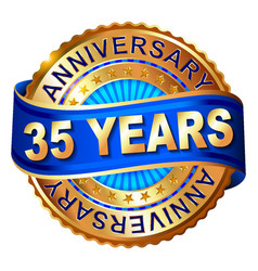 35 years anniversary golden label with ribbon vector