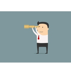 Cartoon businessman looking through a telescope vector