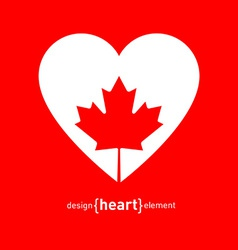 Heart with canadian maple leaf vector