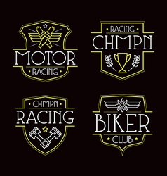 Racing badges for t shirt vector