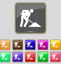 Repair of road construction work icon sign set vector