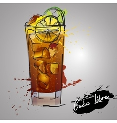Cuba libre cocktail with color splash vector
