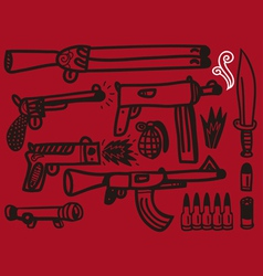 Firearms set vector