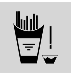 Flat in black and white french fries vector