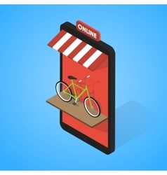Mobile supermarket internet commerce concept vector