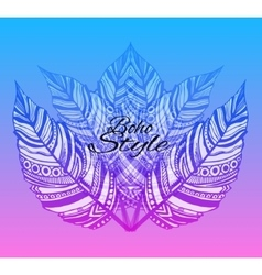 Trendy boho style patterned elements vector