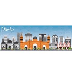 Dhaka skyline with gray buildings and blue sky vector