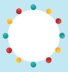 Blue frame vibrant birthday party pom poms vector