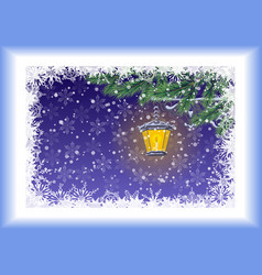 Christmas card lamp branches and snowflakes vector