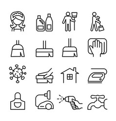 cleaning housekeeping hygiene icon set vector image vector image