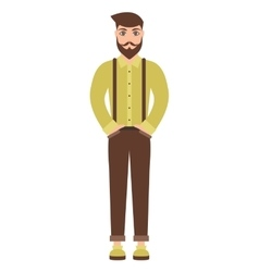 Cute cartoon hipster man isolated on white vector
