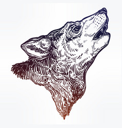 Decocrative hand drawn wolf howling at moon vector