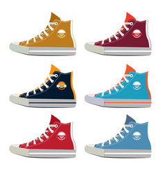 different colors of teenage sport sneakers vector image vector image