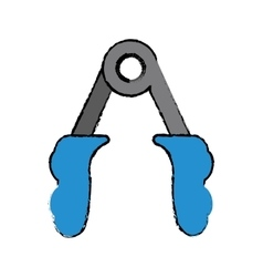 Drawing blue handles fitness gym equipment vector