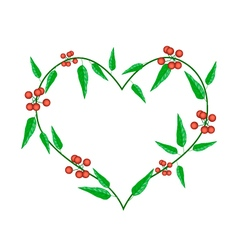 Evergreen leaves in a heart shape frame vector