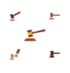 Flat icon hammer set of government building vector