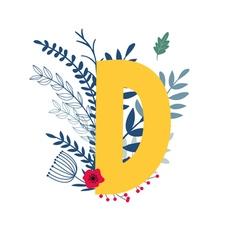 floral alphabet letter d vector image