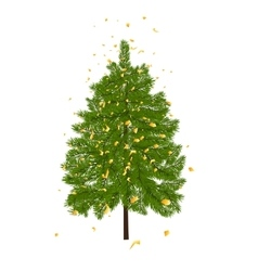 Green lush fir decorated with gold confetti fir vector