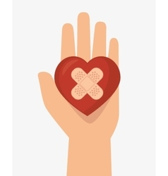 Hand hols heart cure band icon vector