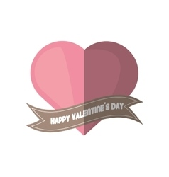 Happy valentines day card pink heart shadow vector