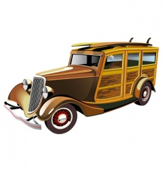hot rod with surboards vector image
