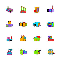 industrial factory building set icons set cartoon vector image vector image