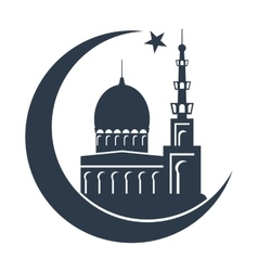 Islamic mosque black silhouette vector