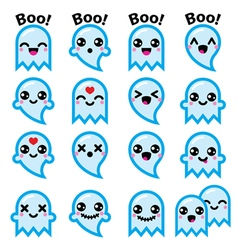 Kawaii cute ghost for Halloween blue icons set vector image