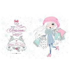 Little girl Christmas shop vector image