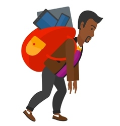 Man with backpack full of devices vector image vector image