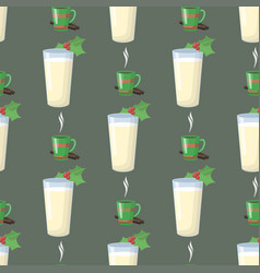 milk glass new year drink seamless pattern vector image