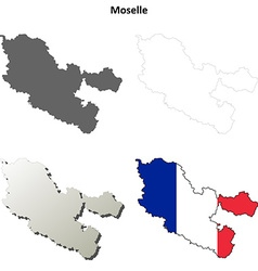 Moselle lorraine outline map set vector