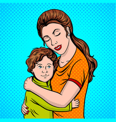 Mother and child pop art style vector
